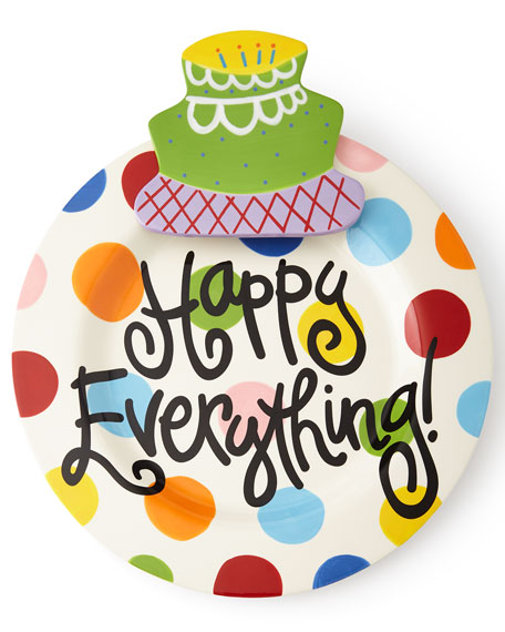 Happy Everything Bright-Dot Big Platter with Birthday Cake
