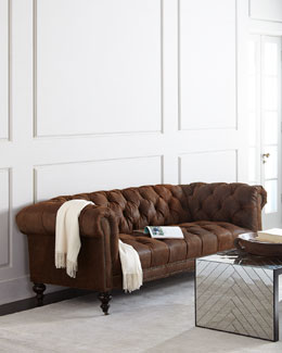 Morgan Rustic-Suede Tufted Sofa