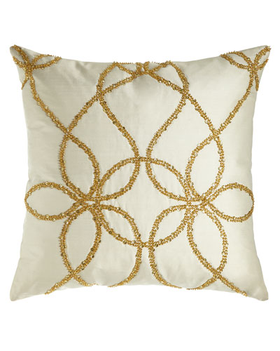 Ivory Silk Pillow with Gold Beading, 22