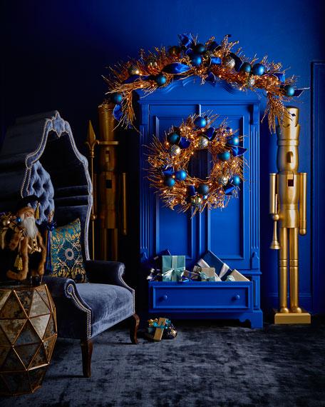 Sapphire Amp Gold Pre Lit 28 Quot Christmas Wreath