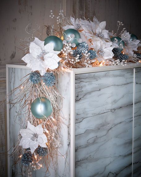 Ice blue silver pre lit christmas garland