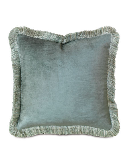 "Central Park Fringed Velvet Pillow, 18""Sq."