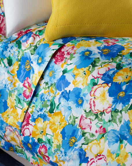 Queen 300 Thread Count Ashlyn Floral Flat Sheet