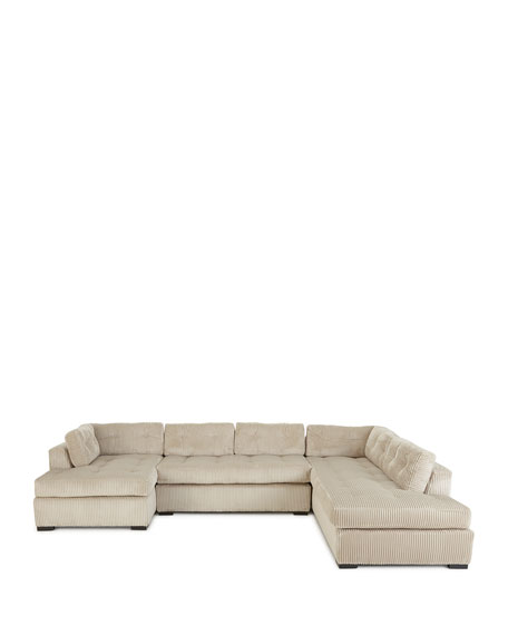 McLain Ivory 3-Piece Right-side Chaise Sectional Sofa 136.5""