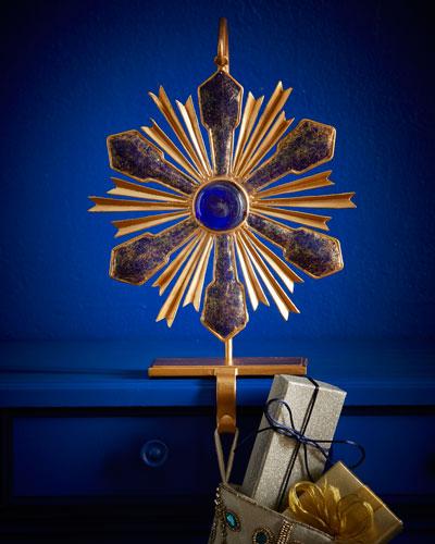 Suni Sapphire & Gold Christmas Stocking Holder