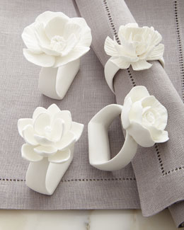 Porcelain Flower Napkin Rings, 4-Piece Set