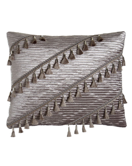 "Geordi Pleated Velvet Pillow, 16"" x 20"""