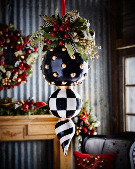 Mackenzie Childs Christmas.Deck The Halls Triple Christmas Ornament
