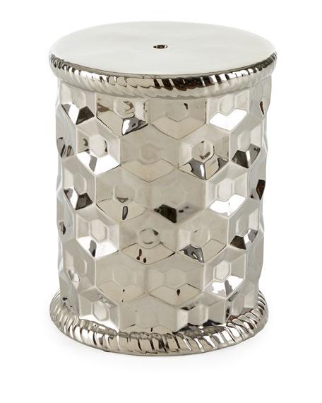 silver honeycomb garden stool