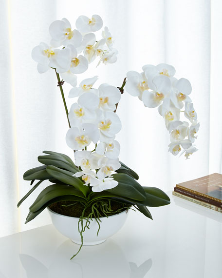 Ndi white orchids faux floral arrangement Christmas orchid arrangements