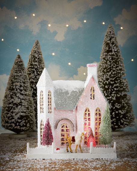 Pink House with Golden Reindeer