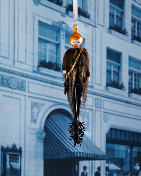 Raegan in Long Fur Vest Christmas Ornament