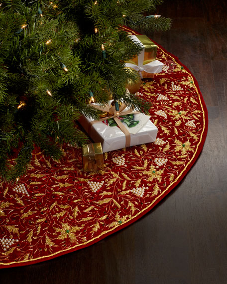 Red And Gold Christmas Trees: Sudha Pennathur Red & Gold Embroidered Christmas Tree Skirt