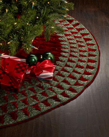 Sudha Pennathur Red Velvet Christmas Tree Skirt