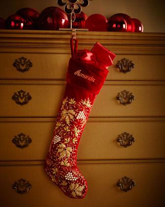 Red Velvet Golden Leaf Christmas Stocking