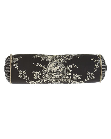 """""""French Toile"""" Neck Roll Pillow, 6"""" x 20"""""""