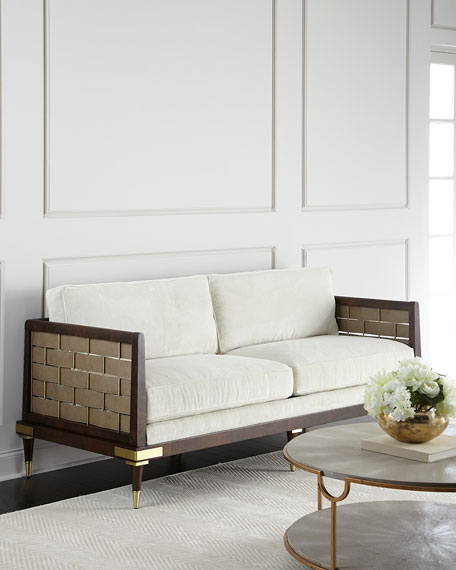 Hamill Sofa With Woven Leather Sides
