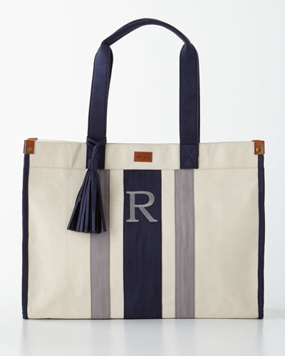 Navy/Gray Monogrammed Tote with Tassel