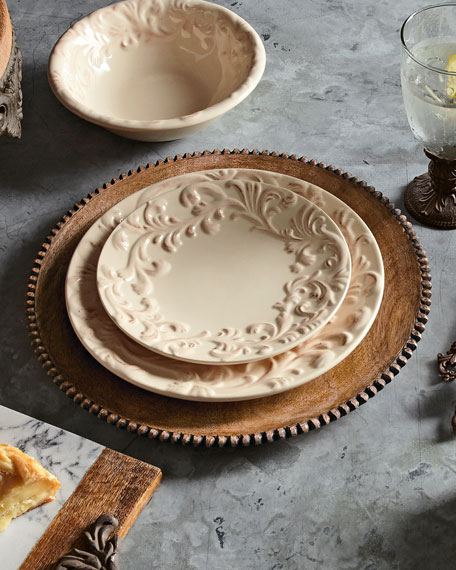 G G Collection Wood Beaded Charger Plates Set Of 4