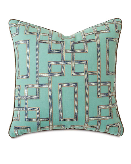 "Hudson Turquoise Pillow, 22""Sq."
