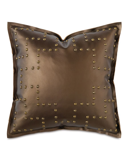"Hudson Nailhead Pillow, 18""Sq."
