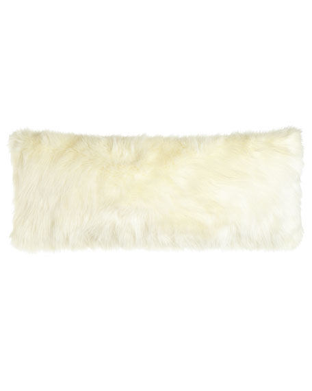 "Pearl Shag Faux-Fur Pillow, 15"" x 35"""