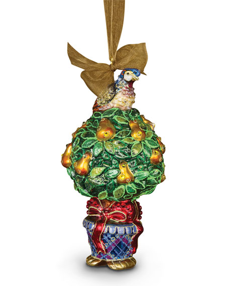 Jay Strongwater Partridge In A Pear Tree Christmas Ornament