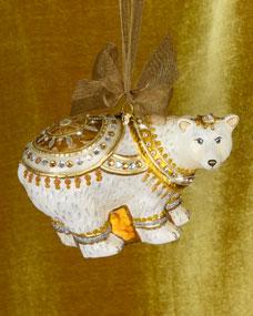 Jay Strongwater Polar Bear Glass Christmas Ornament