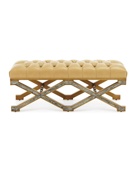 Ciara Tufted-Leather Bench