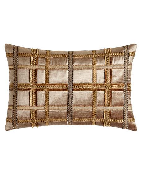 """Kamala Gimp-Plaid Pillow, 15"""" x 22"""""""