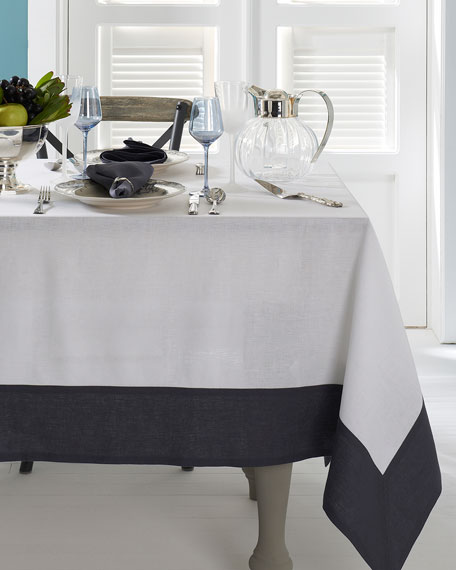 "Hamptons Gray Tablecloth, 70"" x 128"""