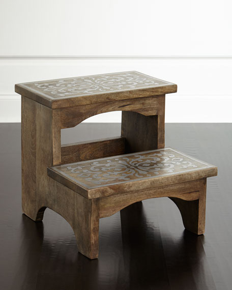 G G Collection Wood Amp Metal Step Stool