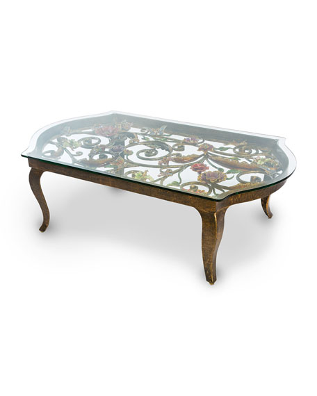 Jay Strongwater Floral Scroll Coffee Table