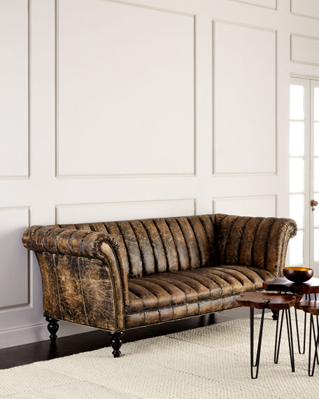 Safari Channel-Tufted Leather Sofa