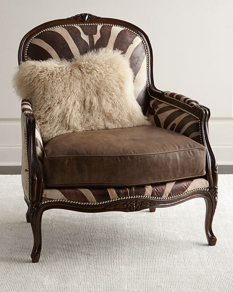 Great Massoud Titus Zebra Print Bergere Chair