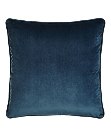 "Blue Velvet Pillow, 18""Sq."