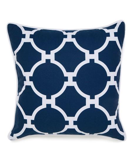 "Hampton Links Navy & White Print Pillow, 18""Sq."