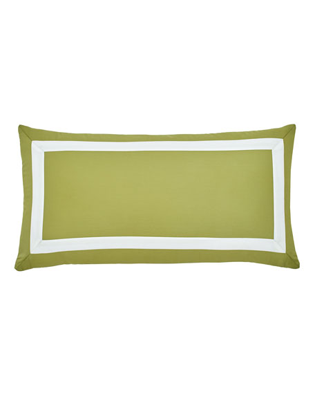 """Arrows Olive Pillow with White Detail, 12"""" x 24"""""""