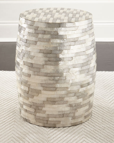 Capiz Stripe Barrel Stool