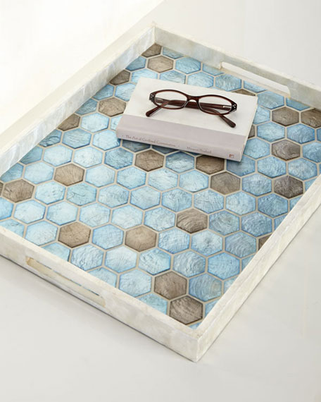 Blue Capiz Tray