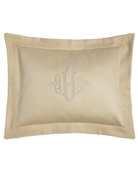 King Angelina Pique Sham with Script Monogram