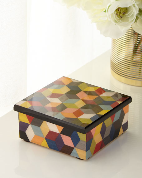 Multicolor Inlaid Wood Box