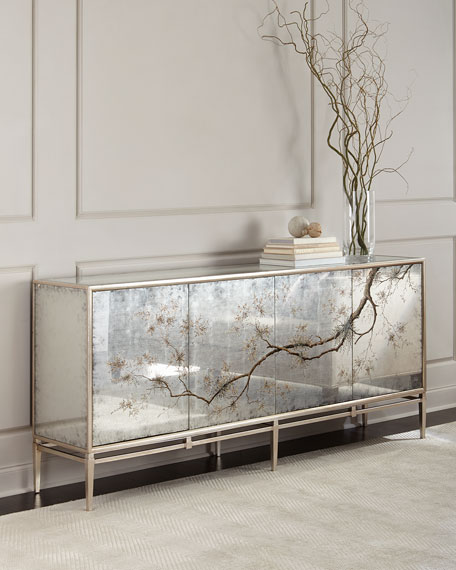 John Richard Collection Falling Branch Eglomise Console