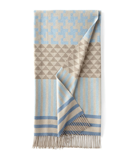 Blue/Gray Geometric Throw
