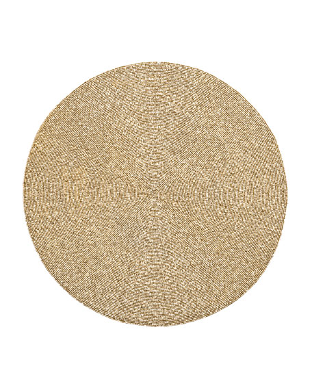 Golden Round Beaded Placemat