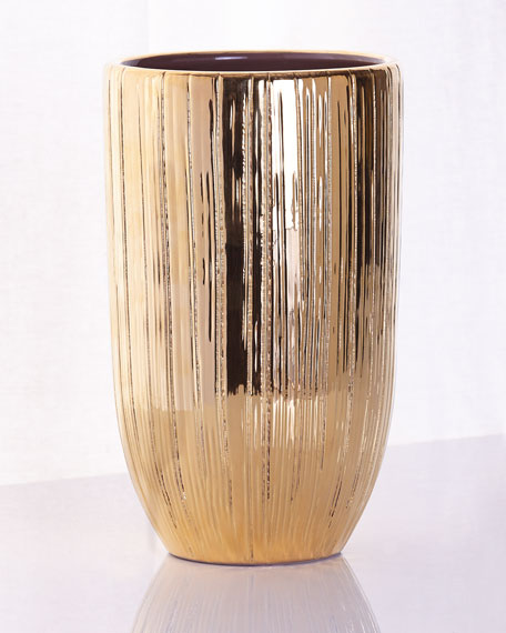 Combed Textured Small Gold Vase