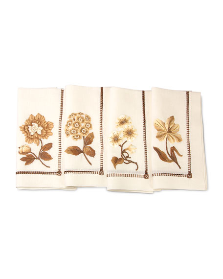 Jay Strongwater Floral Dinner Napkins, 4-Piece Set