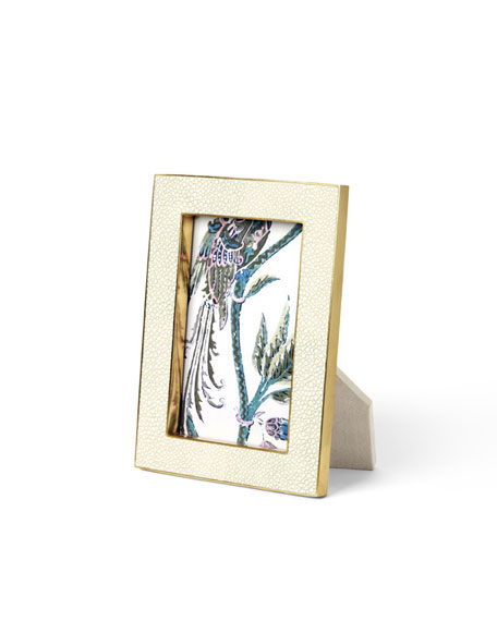 "Cream Shagreen 4"" x 6"" Picture Frame"