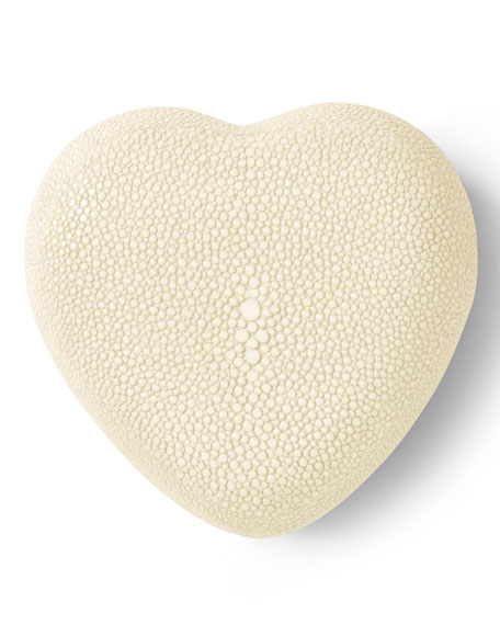 Embossed Faux-Shagreen Heart Box