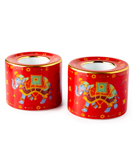 Ceremonial Indian Elephant Red Tea Light Holders, Set